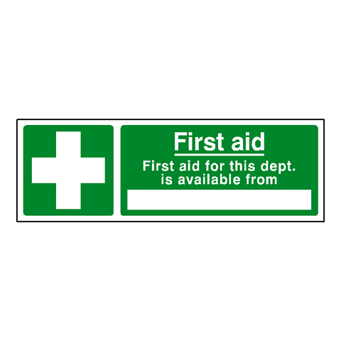 First Aid Department Sticker - Safety-Label.co.uk