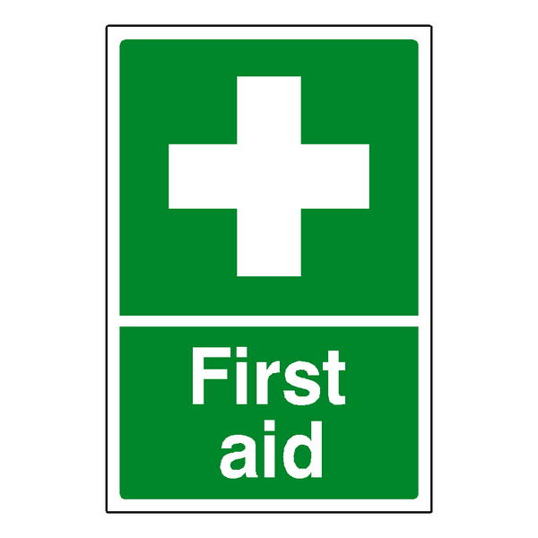 First Aid Sticker Portrait | Safety-Label.co.uk
