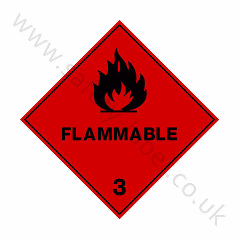Flammable 3 Sign - Safety-Label.co.uk