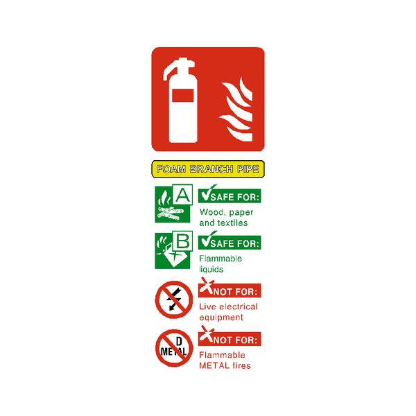 Foam Branch Pipe Extinguisher Sticker - Safety-Label.co.uk