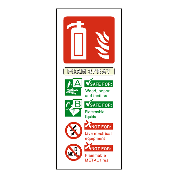 Foam Spray Fire Extinguisher Sign - Safety-Label.co.uk
