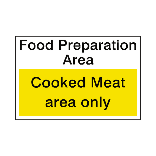 Food Prep Cooked Meat Sticker - Safety-Label.co.uk
