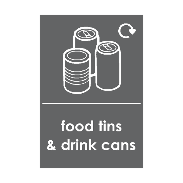 Food Tins and Drink Cans Waste Recycling Signs | Safety-Label.co.uk