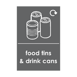 Food Tins and Drink Cans Waste Recycling Sticker | Safety-Label.co.uk