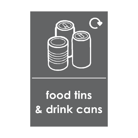 Food Tins and Drink Cans Waste Recycling Sticker - Safety-Label.co.uk