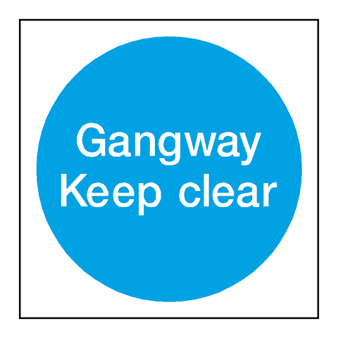Gangway Keep Clear Door Sticker - Safety-Label.co.uk