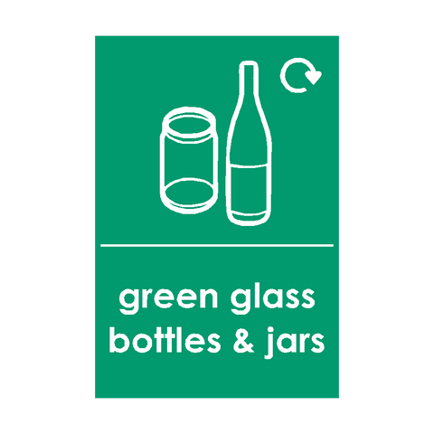 Green Glass Waste Sticker - Safety-Label.co.uk