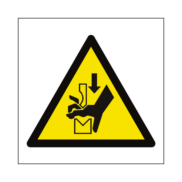 Hand Crush in Press Hazard Symbol Label | Safety-Label.co.uk