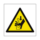 Hand Crush in Press Hazard Symbol Sign - Safety-Label.co.uk
