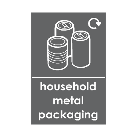 Household Metal Packaging Waste Recycling Sticker - Safety-Label.co.uk