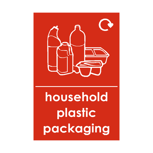 Household Plastic Packaging Waste Recycling Signs | Safety-Label.co.uk