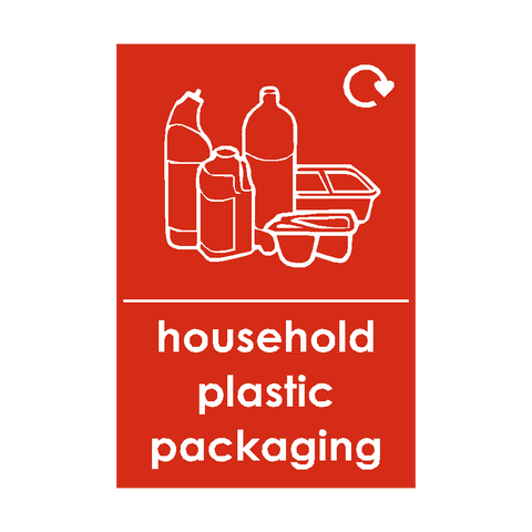 Household Plastic Packaging Waste Recycling Signs | PVC Safety Signs | Health and Safety Signs