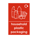 Household Plastic Packaging Waste Recycling Sticker - Safety-Label.co.uk