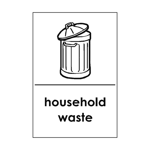 Household Waste Recycling Signs | PVC Safety Signs | Health and Safety Signs