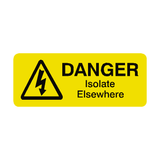 Isolate Elsewhere Labels Mini | Safety-Label.co.uk
