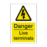 Live Terminals Sticker | Safety-Label.co.uk