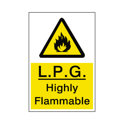 LPG Highly Flammable Sticker - Safety-Label.co.uk