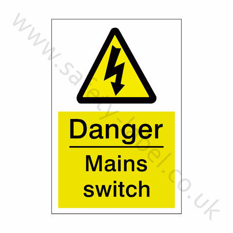Mains Switch Electrical Safety Sign | Safety-Label.co.uk