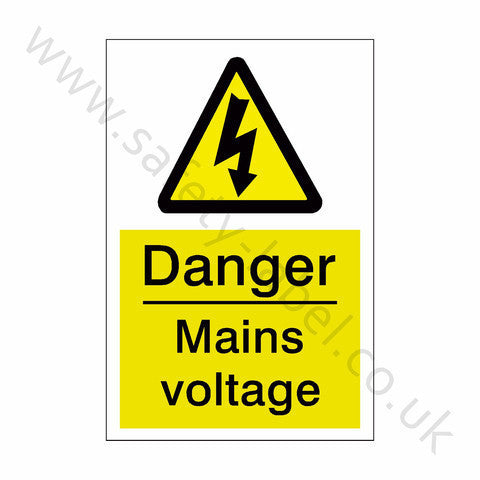 Mains Voltage Electrical Safety Sign | Safety-Label.co.uk