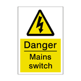 Mains Switch Sticker | Safety-Label.co.uk