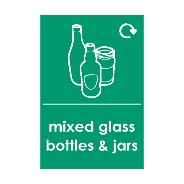 Mixed Glass Waste Sticker - Safety-Label.co.uk