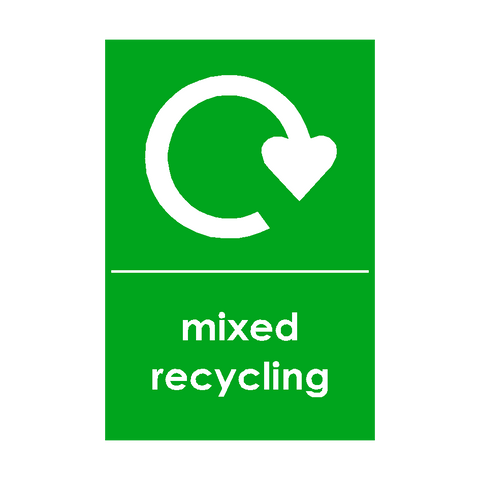 Mixed Recycling Waste Sign | PVC Safety Signs | Health and Safety Signs