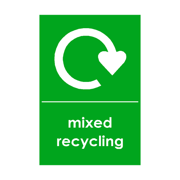 Mixed Recycling Waste Sticker - Safety-Label.co.uk