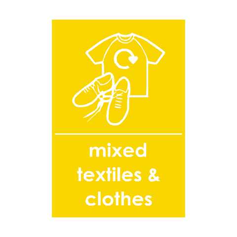 Mixed Textiles and Clothes Waste Recycling Signs | PVC Safety Signs | Health and Safety Signs