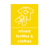 Mixed Textiles and Clothes Waste Recycling Sticker | Safety-Label.co.uk