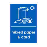 Mixed Paper and Cardboard Waste Recycling Sticker - Safety-Label.co.uk