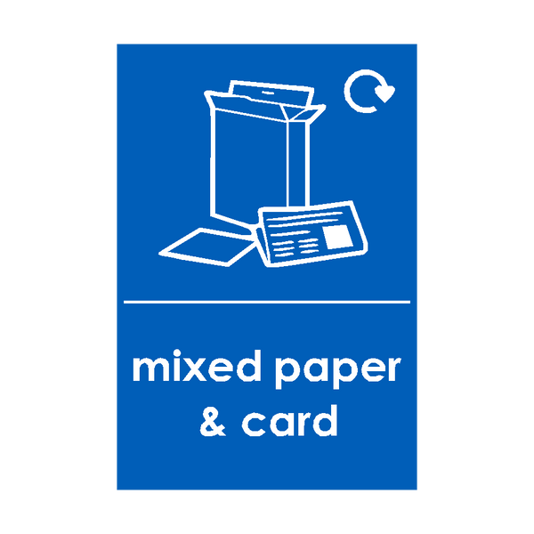 Mixed Paper and Cardboard Waste Recycling Sticker | Safety-Label.co.uk