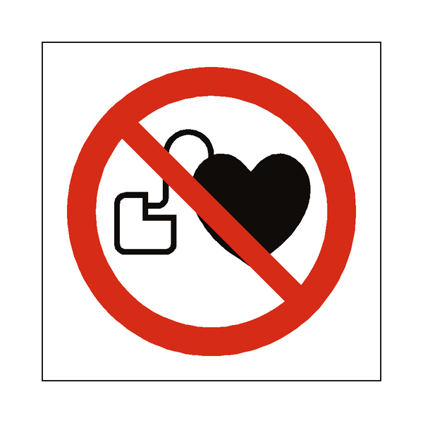 No Cardiac Device Symbol Label - Safety-Label.co.uk