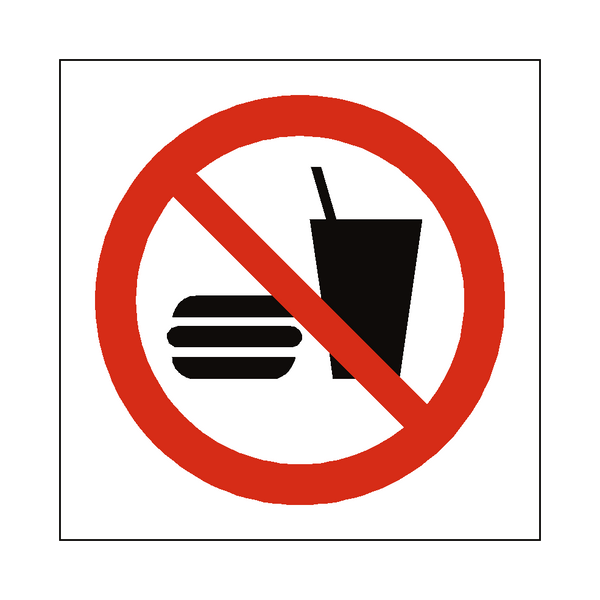 No Eating Or Drinking Symbol Label | Safety-Label.co.uk