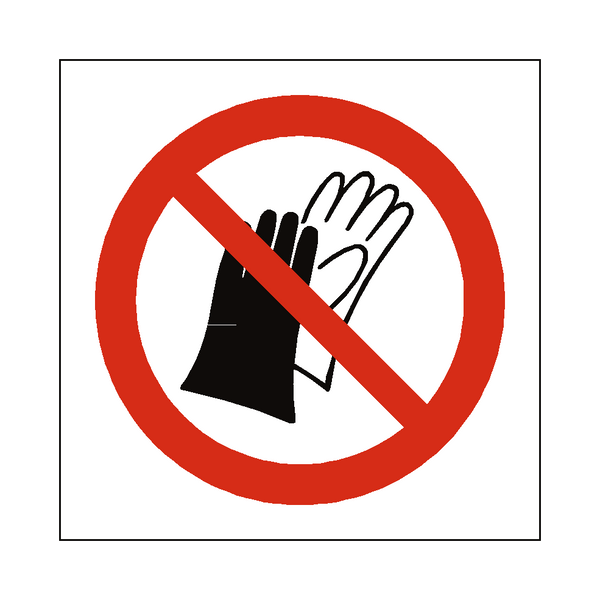 Do Not Wear Gloves Symbol Label - Safety-Label.co.uk