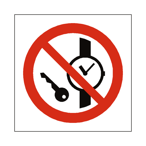 No Metal Objects Symbol Label - Safety-Label.co.uk