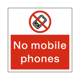 No Mobile Phones Square Sticker | Safety-Label.co.uk