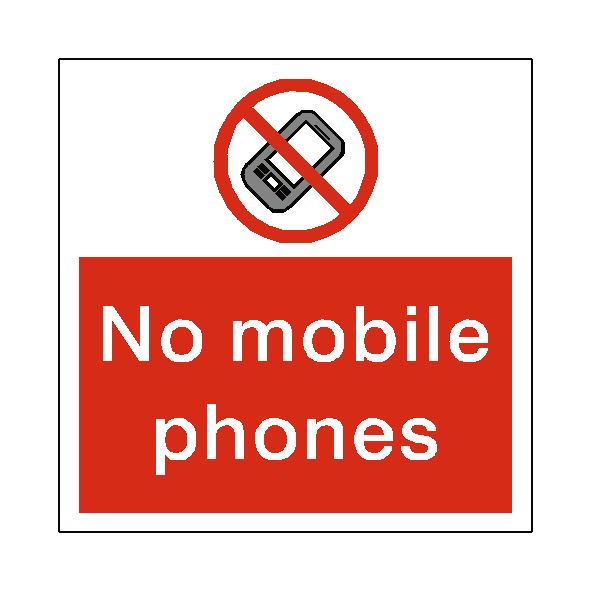 No Mobile Phones Square Sticker - Safety-Label.co.uk