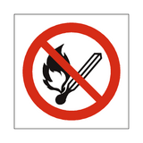 No Open Flame Symbol Label | Safety-Label.co.uk