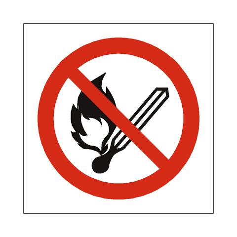 No Open Flame Symbol Label - Safety-Label.co.uk