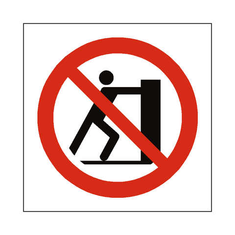 No Pushing Symbol Sign - Safety-Label.co.uk