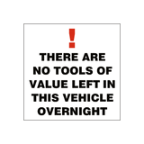 No Tools Of Value Sticker | Safety-Label.co.uk
