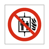 No Use Of Lift In Event Of Fire Symbol Sign | Safety-Label.co.uk