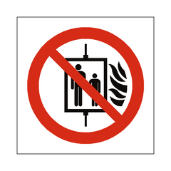 No Use Of Lift In Event Of Fire Symbol Label - Safety-Label.co.uk