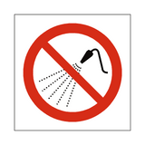 No Water Spray Symbol Sign | Safety-Label.co.uk