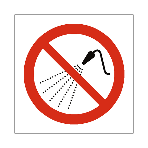 No Water Spray Symbol Sign - Safety-Label.co.uk