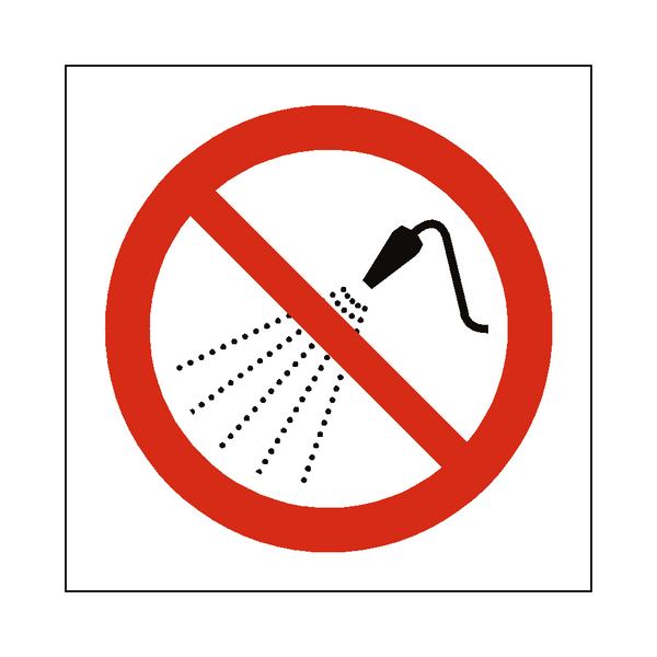 No Water Spray Symbol Label | Safety-Label.co.uk