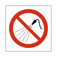 No Water Spray Symbol Label - Safety-Label.co.uk