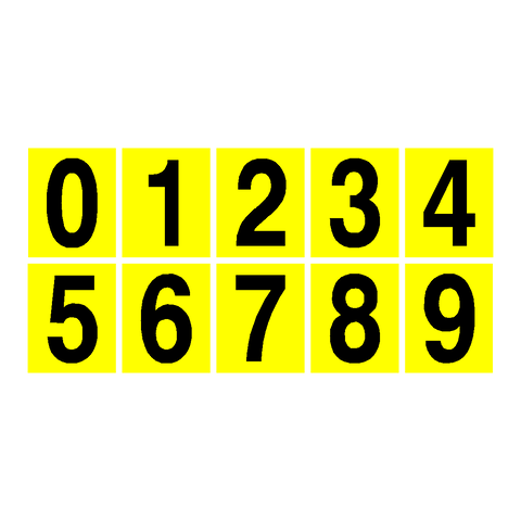 Yellow Number Sticker Pack 0 to 9 - Safety-Label.co.uk