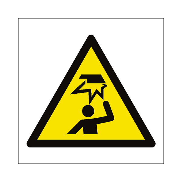 Overhead Obstacles Hazard Symbol Label | Safety-Label.co.uk
