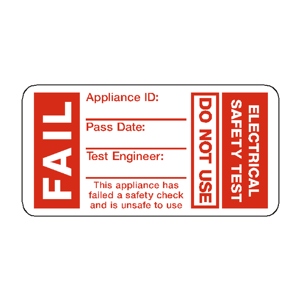 PAT Test Fail Label - Safety-Label.co.uk